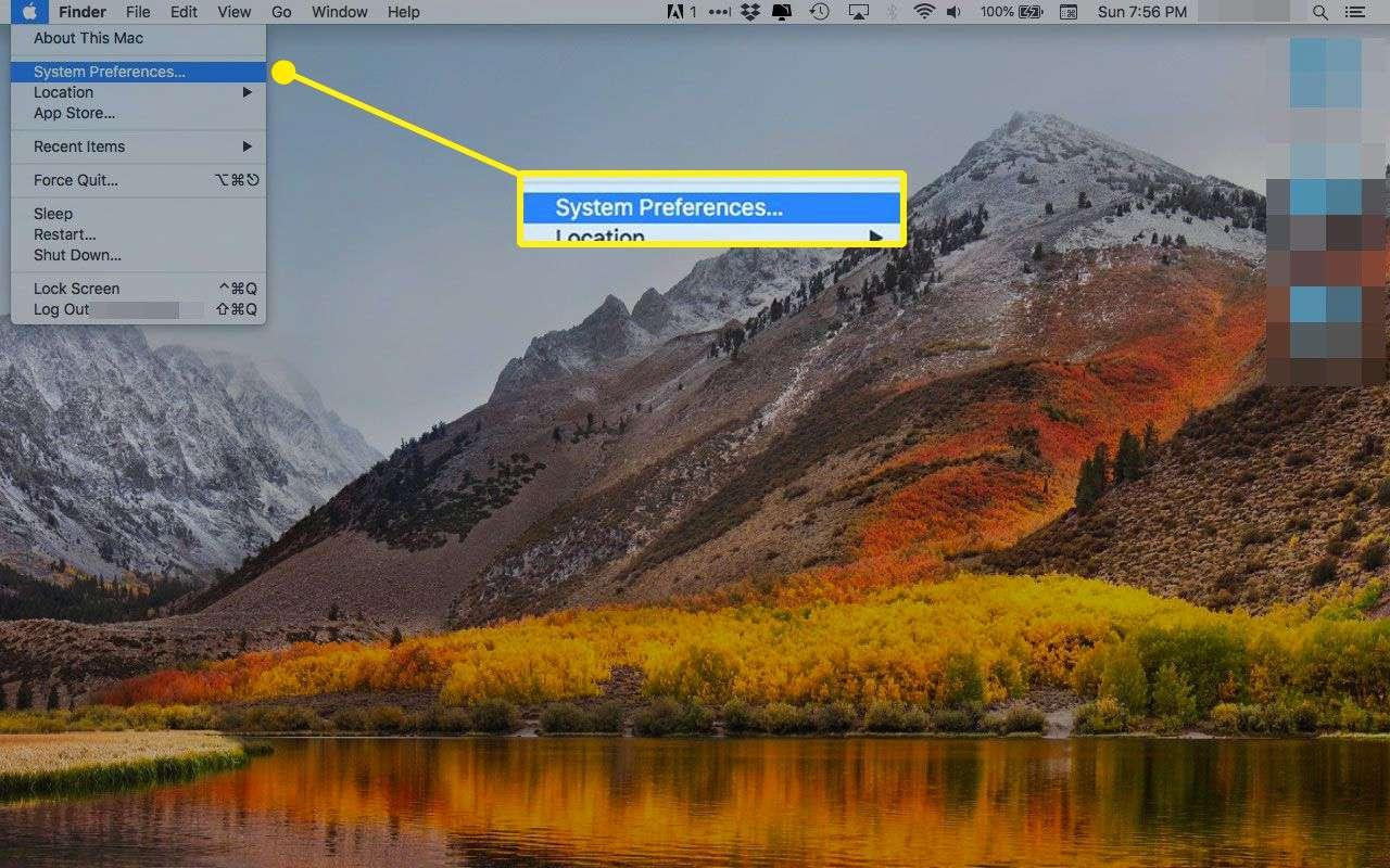 System Preferences under a Mac's Apple Menu