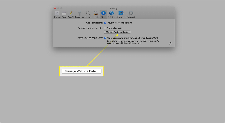 The Manage Website Data button in Safari Privacy preferences