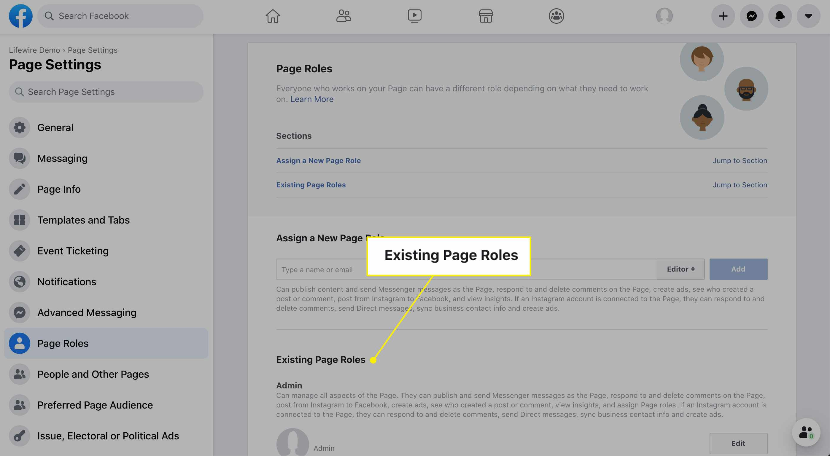 The Existing Page Roles section