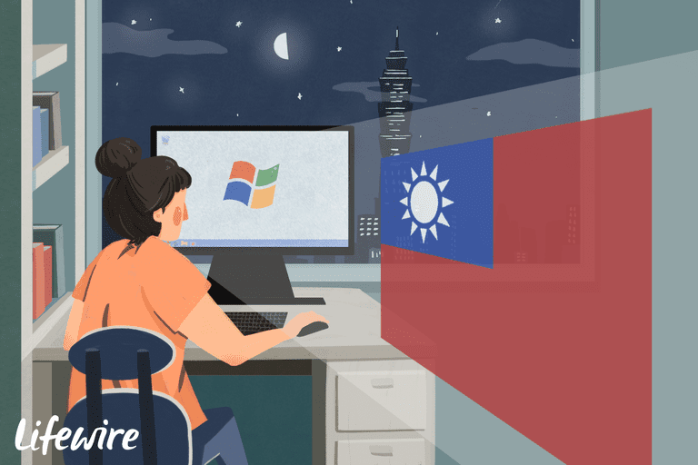 Illustration of a woman at a desk using a Windows computer with the Taiwanese flag superimposed