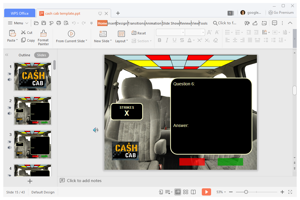 Cash Cab PowerPoint template game