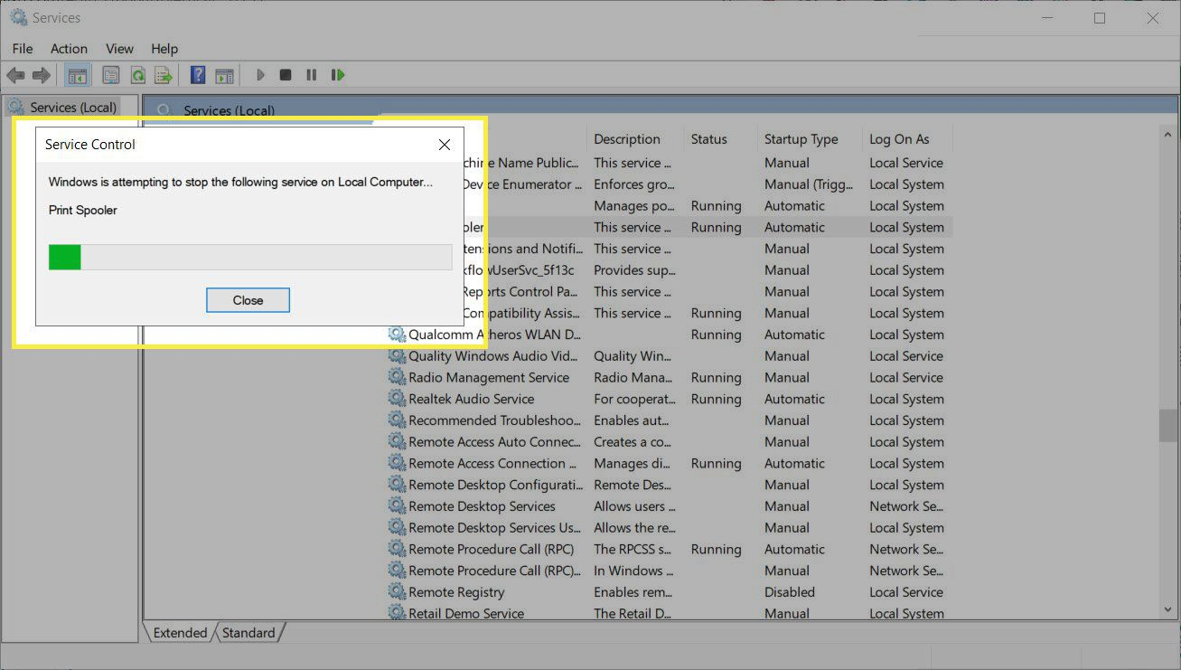 Print Spooler Service in Windows 10 with the Service Control stoppage message highlighted