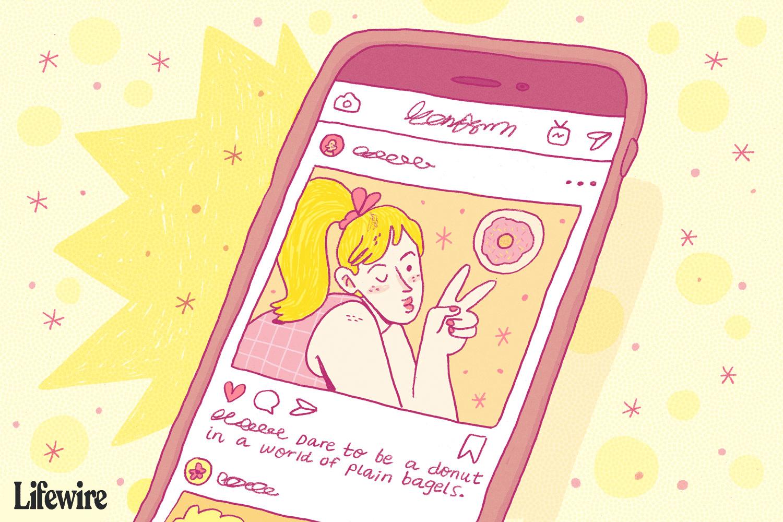 Illustration of a selfie caption on a mobile phone.