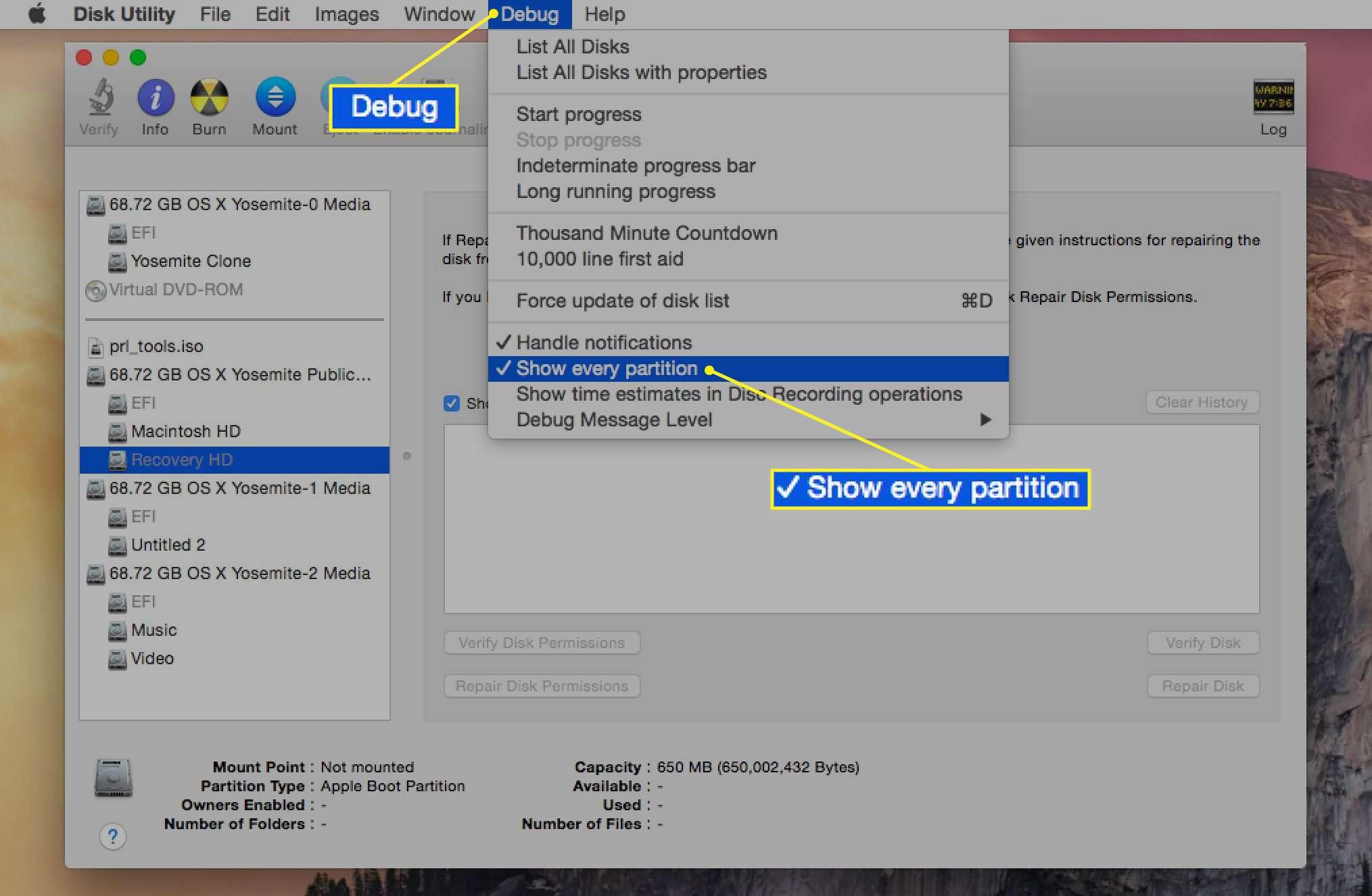 The hidden debug menu in Disk Utility