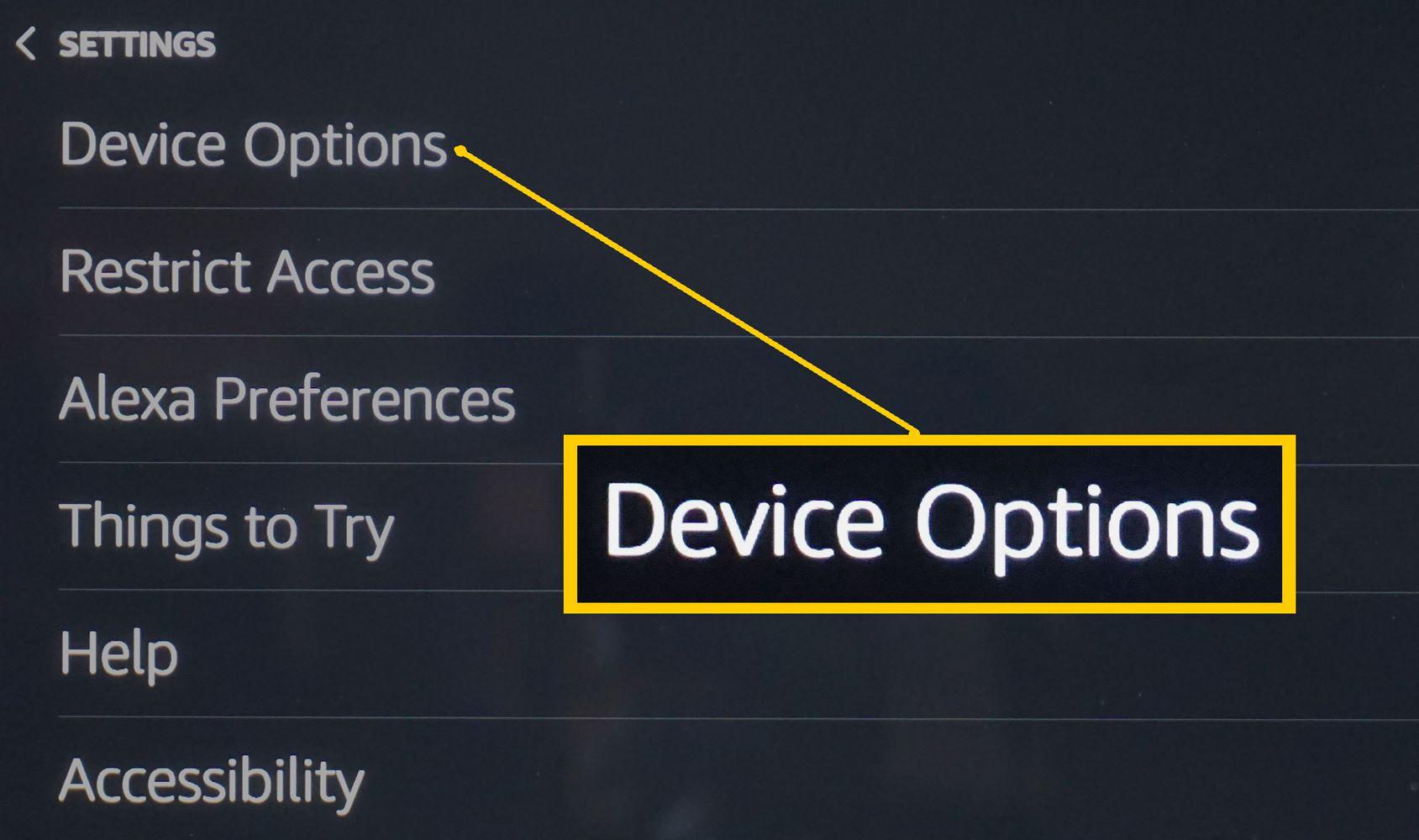 Echo Show – Settings Menu – Select Device Options