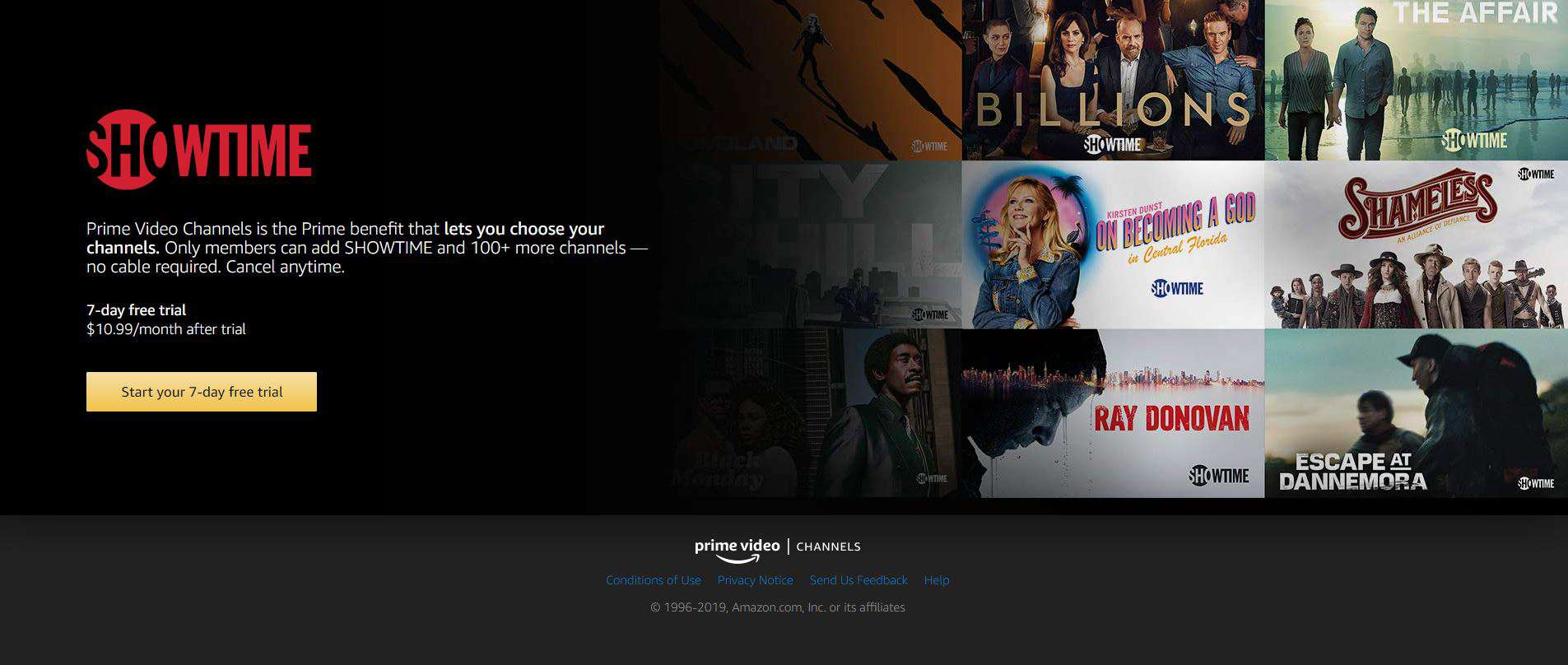 Screenshot of Showtime on Prime Video
