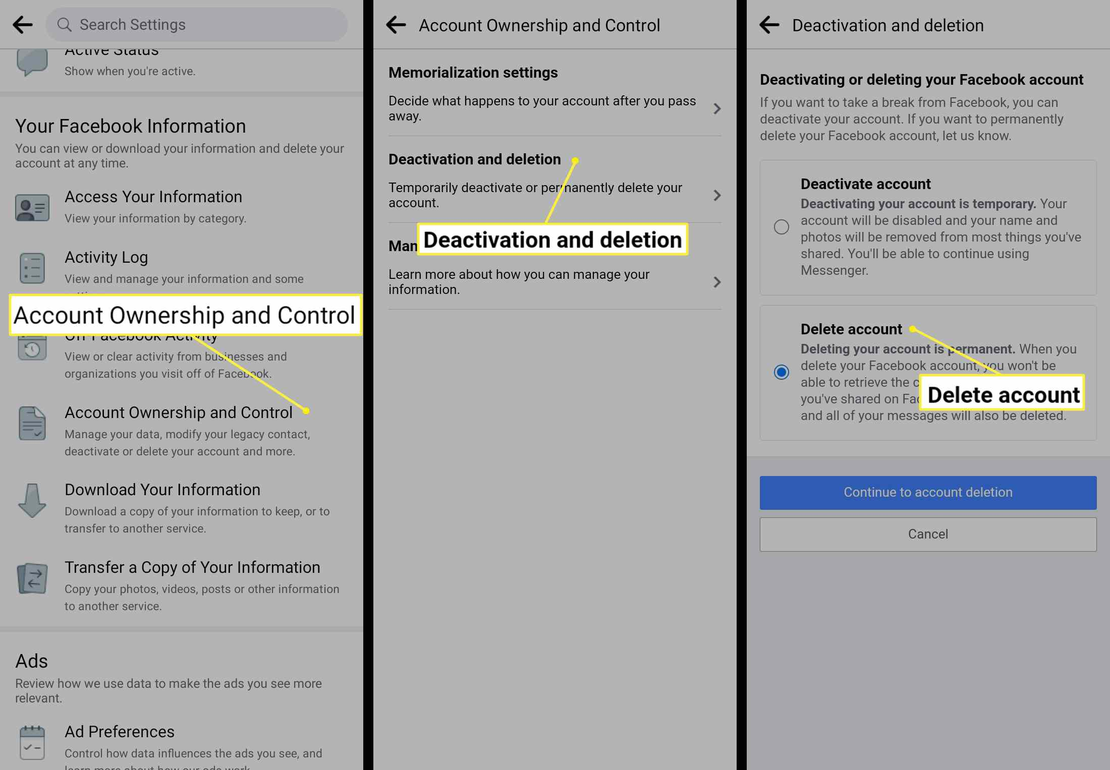 Facebook deletion on Android