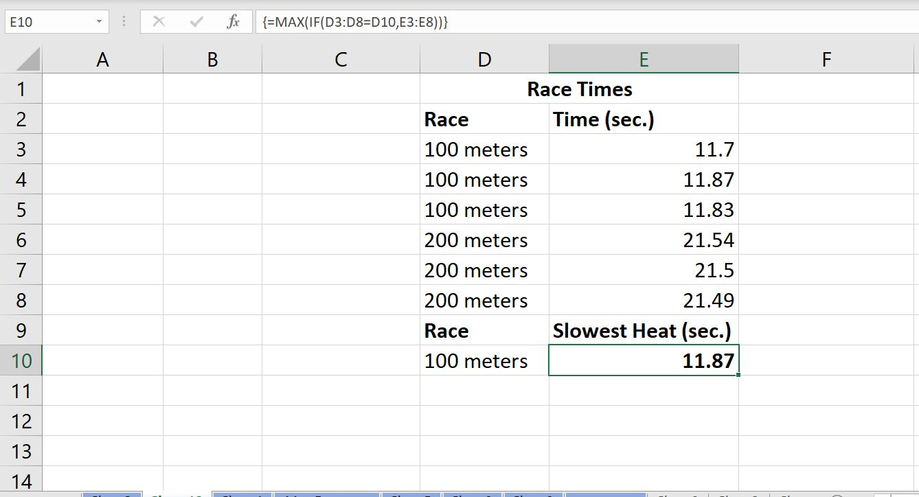 A screenshot of Excel's MAX array function showing the slowest time (in seconds) among several race times.