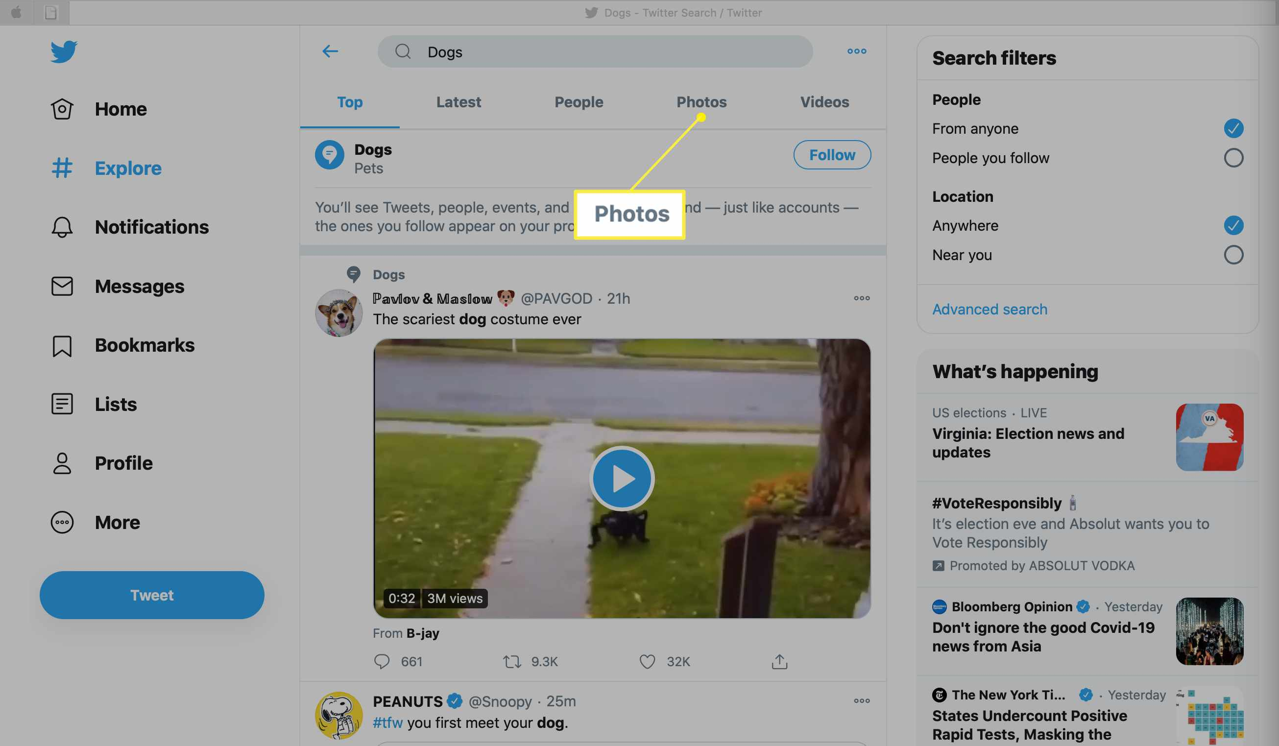 Twitter.com showing Photos selected
