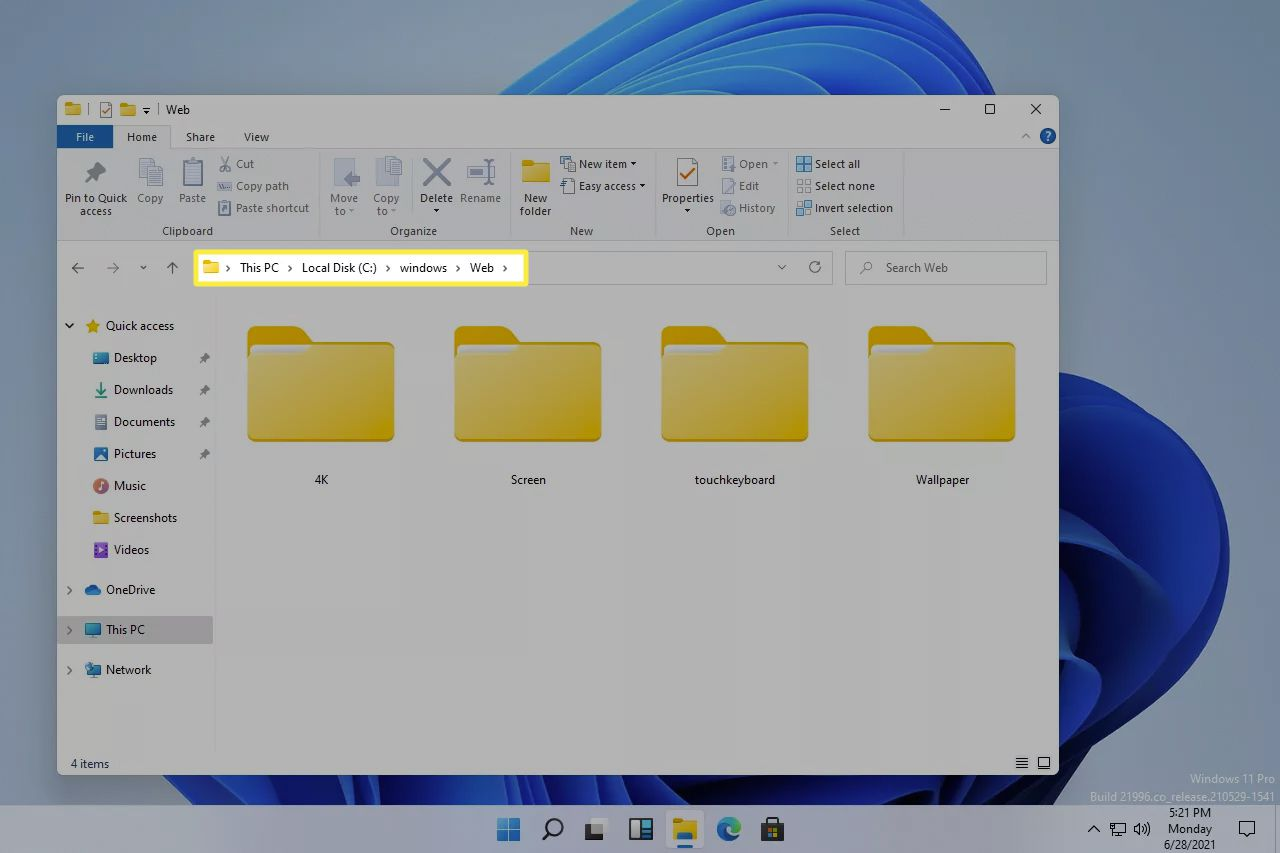 Windows web folder in Windows 11