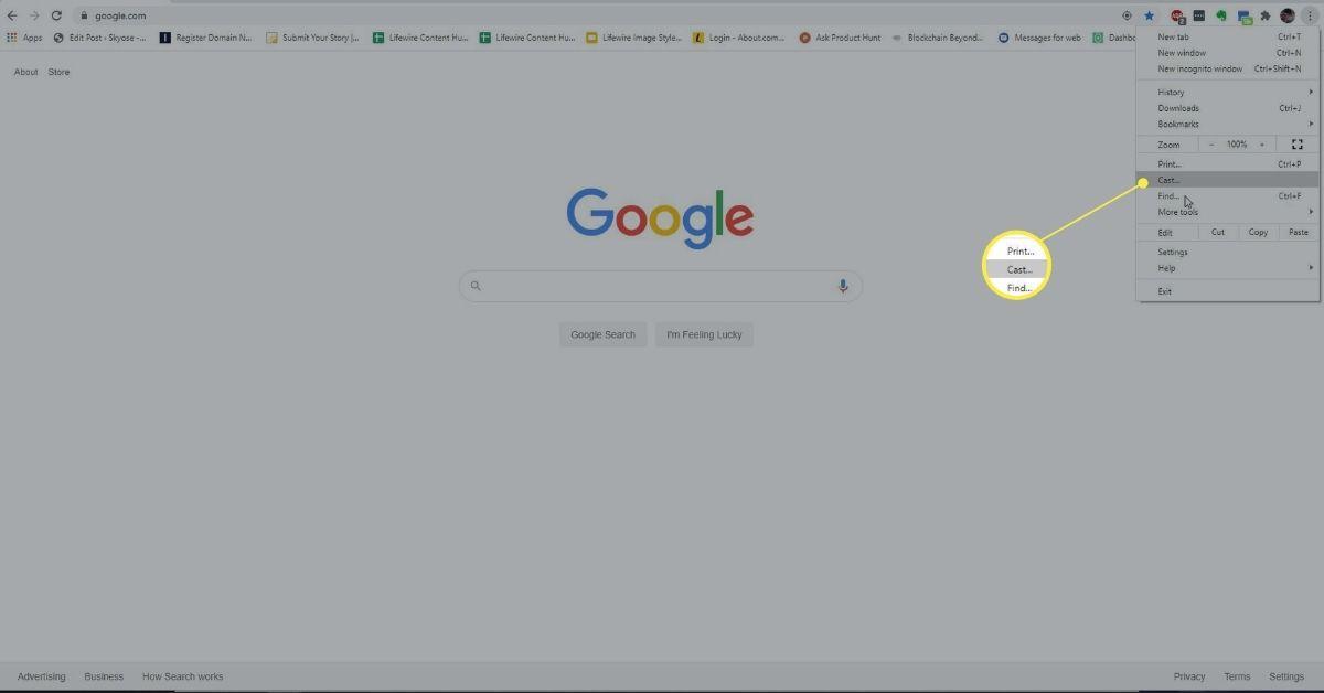 Cast in Google menu