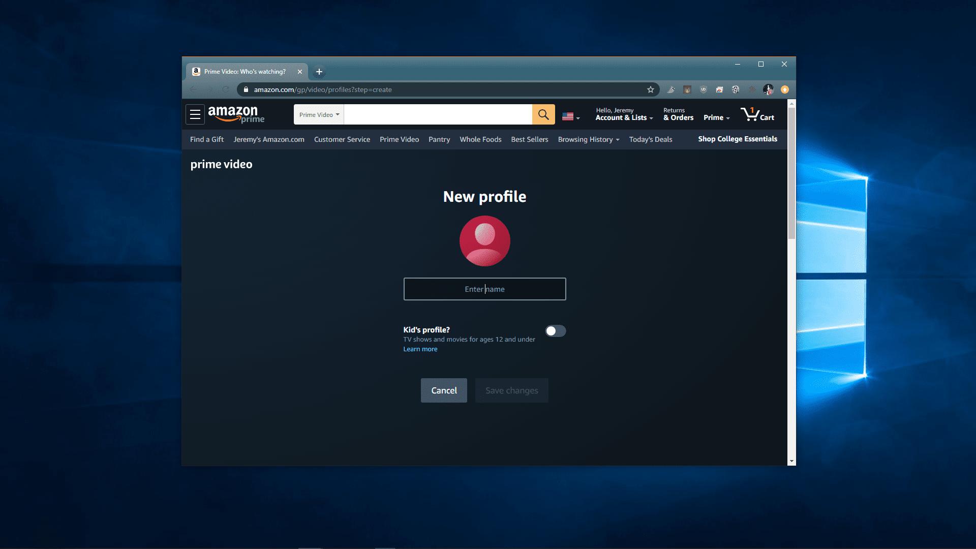 A screenshot of creating an Amazon Video profile.