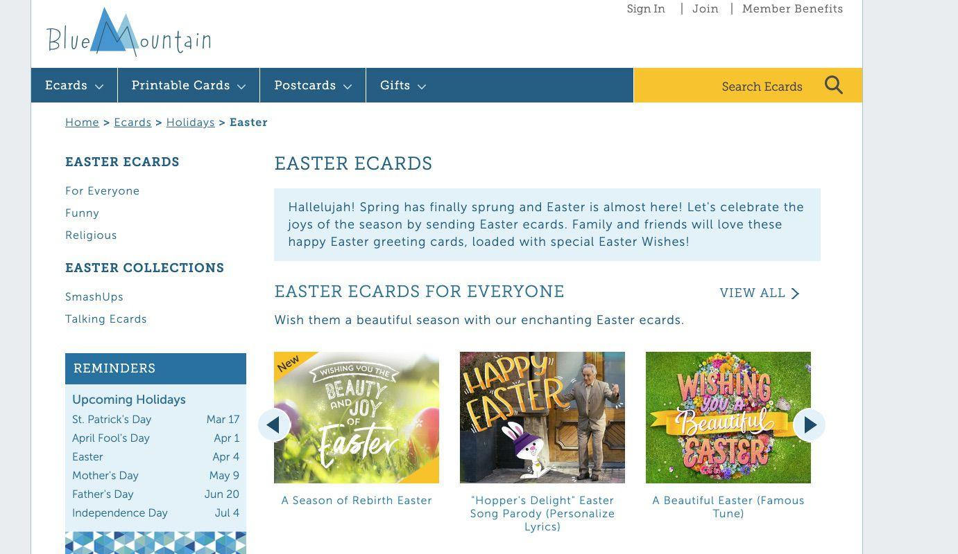 BlueMountain Easter E-Cards