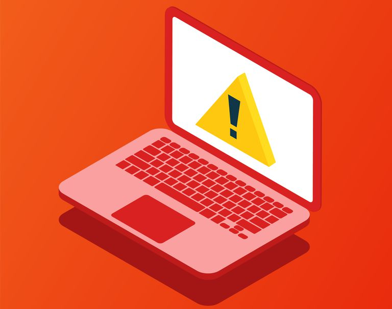 A drawing of a laptop with a warning triangle on