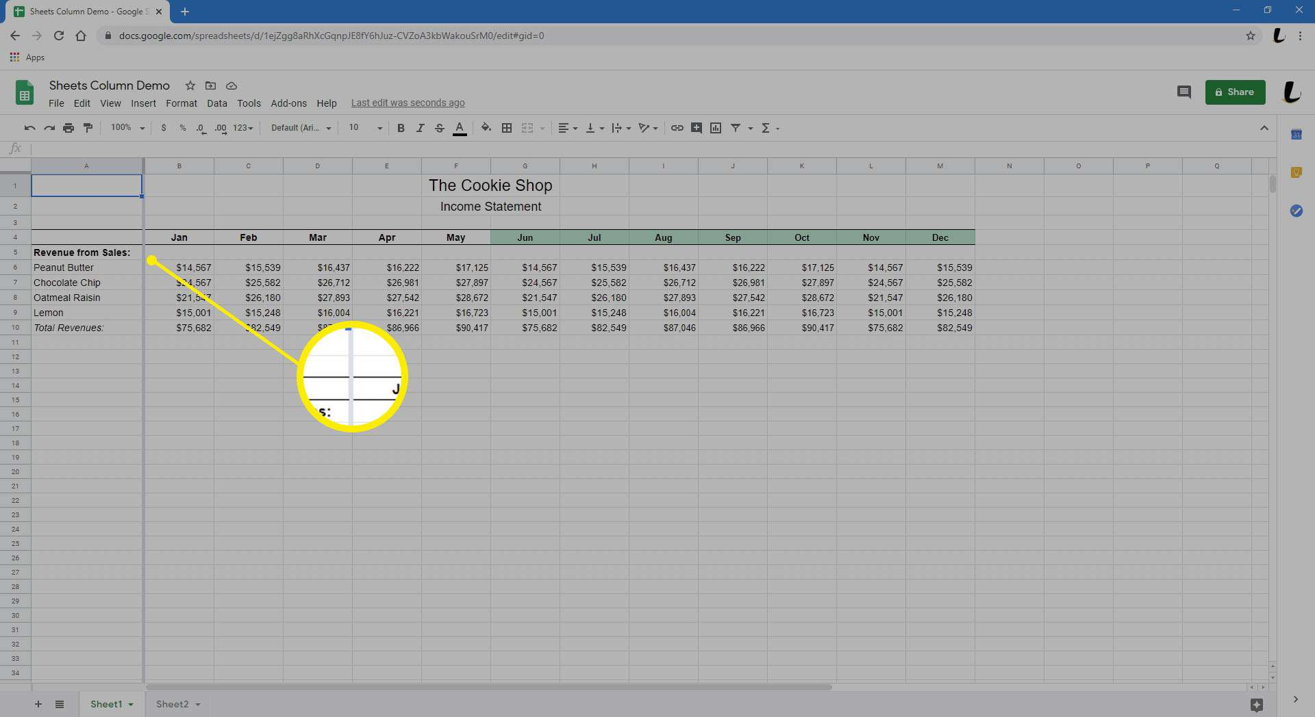 Google Sheets is showing a spreadsheet with the initial column frozen.