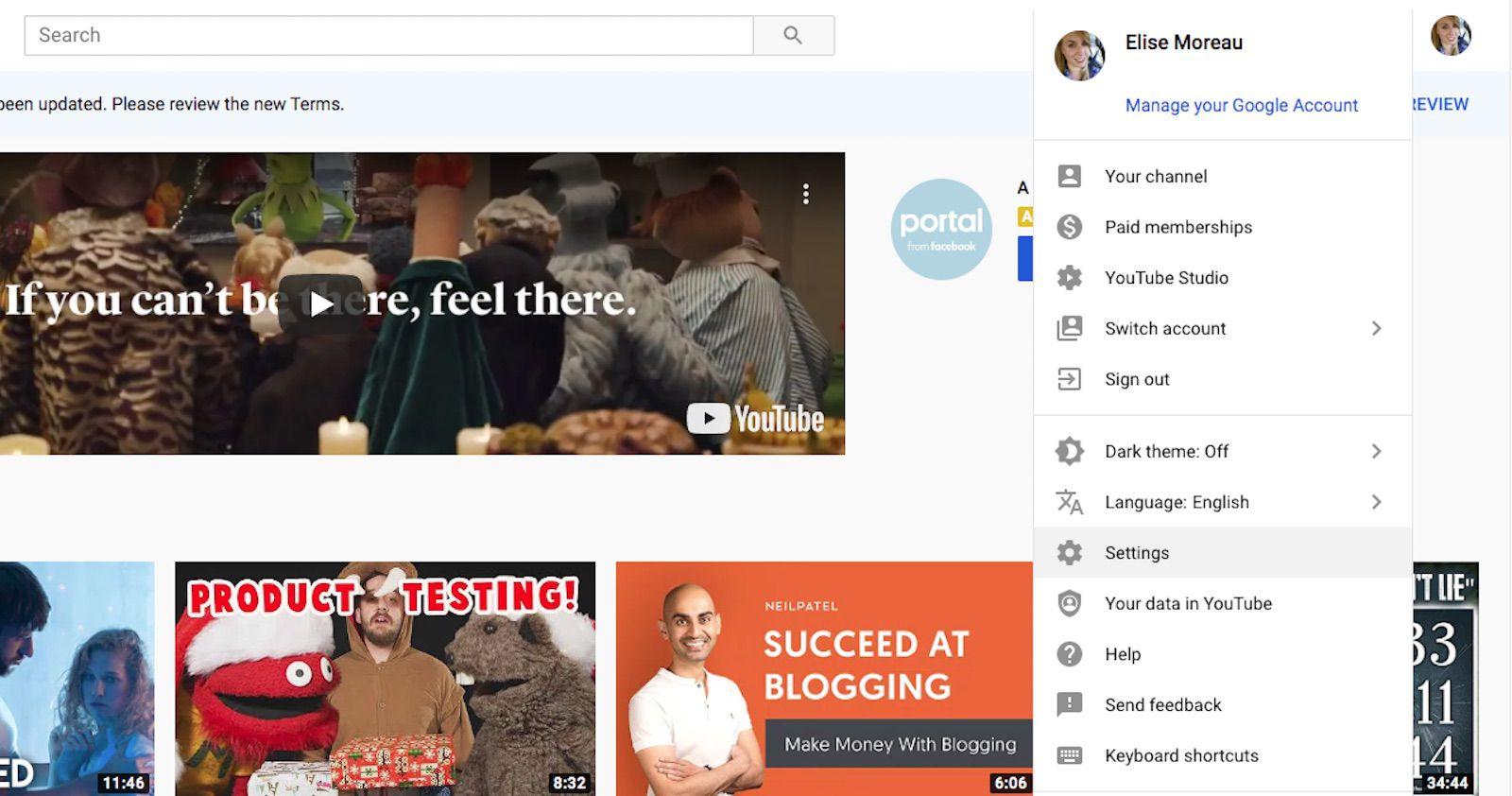 A screenshot of YouTube.com.