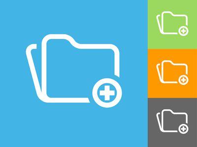 Add Folder Flat Icon on Blue Background