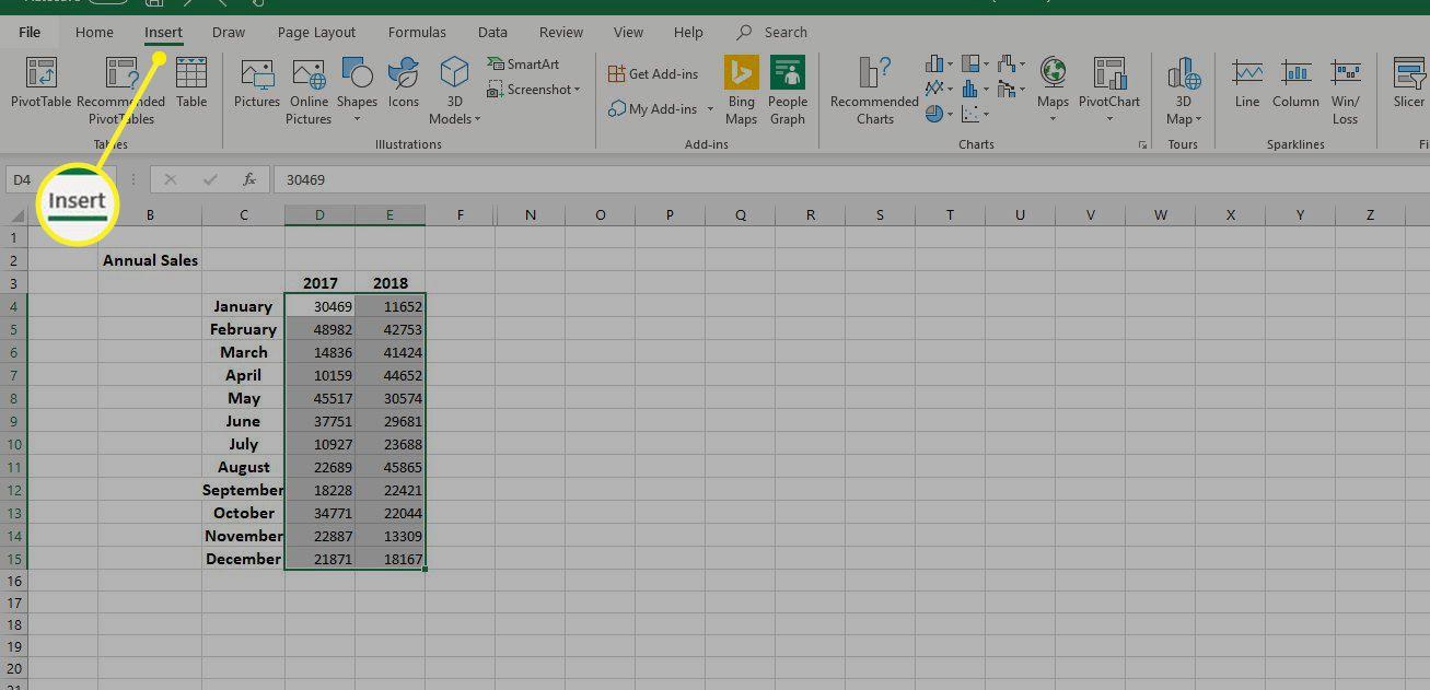 Insert tab in Excel