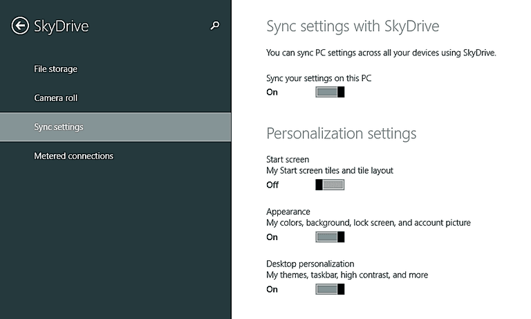 Use PC Settings to enable account sync.
