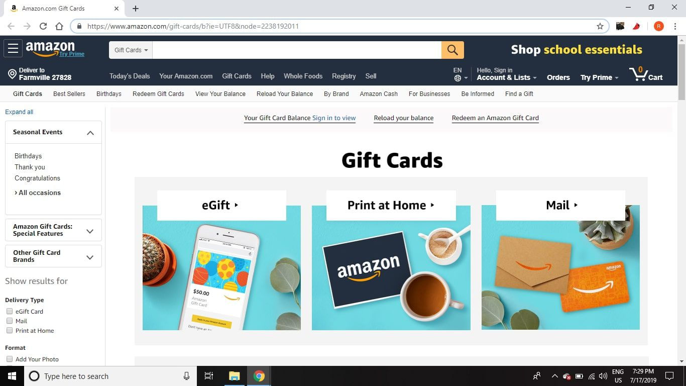 Go to https://www.amazon.com/gift-cards/ and select the type of gift card you want to purchase