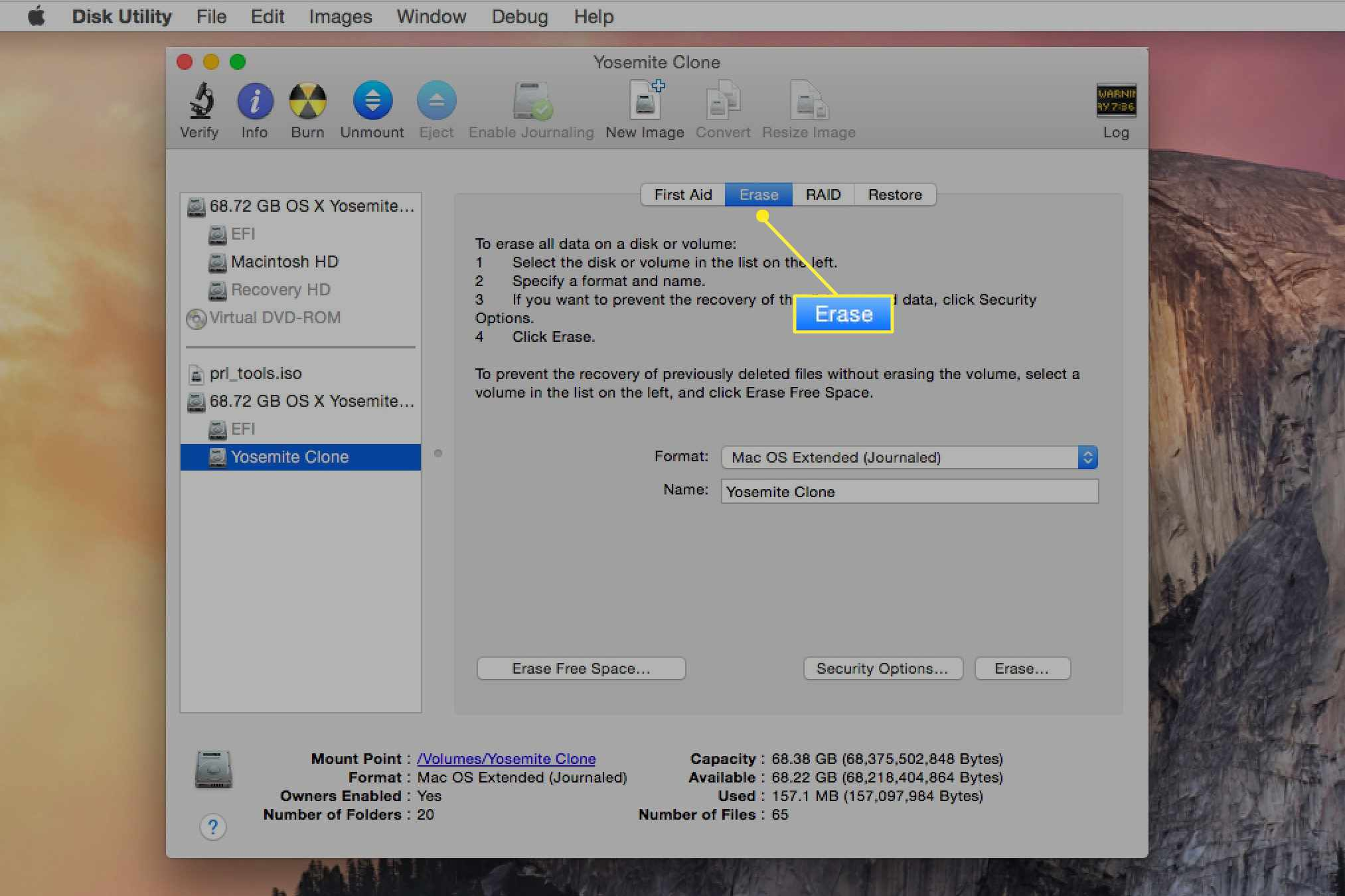 Disk Utility with the Erase tab selected