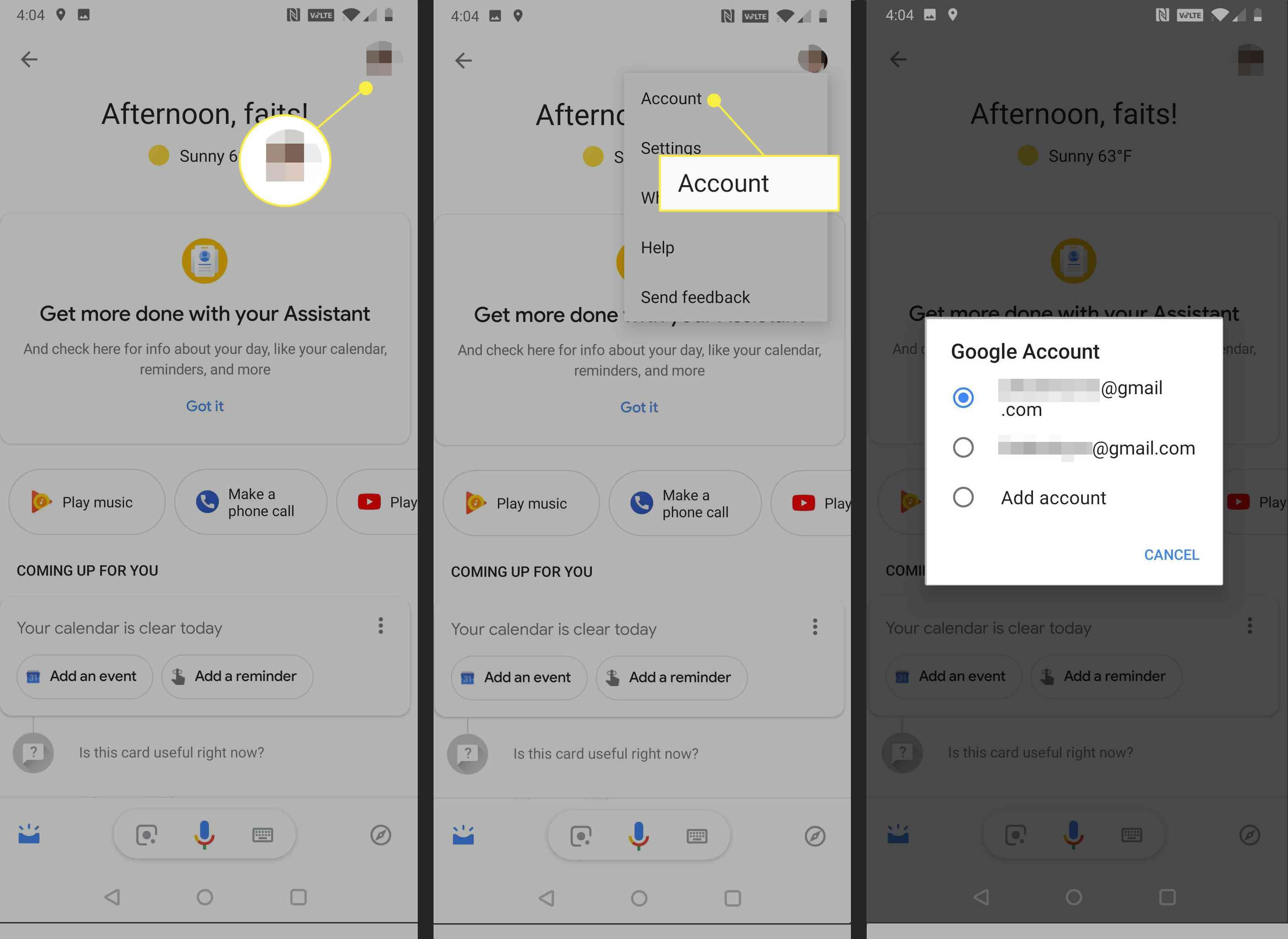 Selecting Google Account