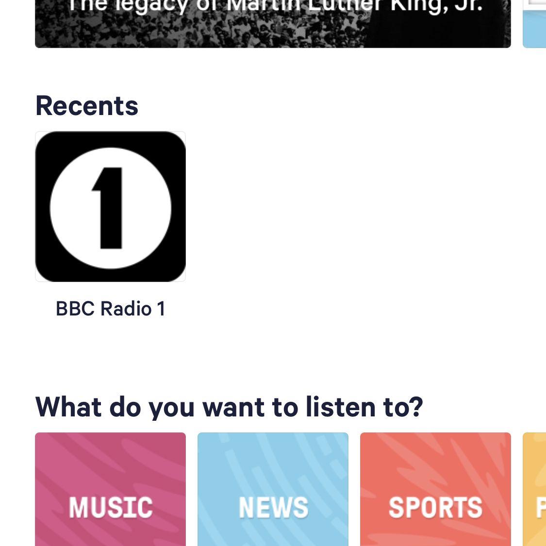 screenshot of TuneIn app