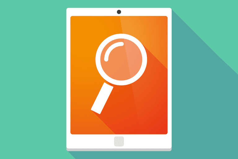iPad with magnifying glass illustration