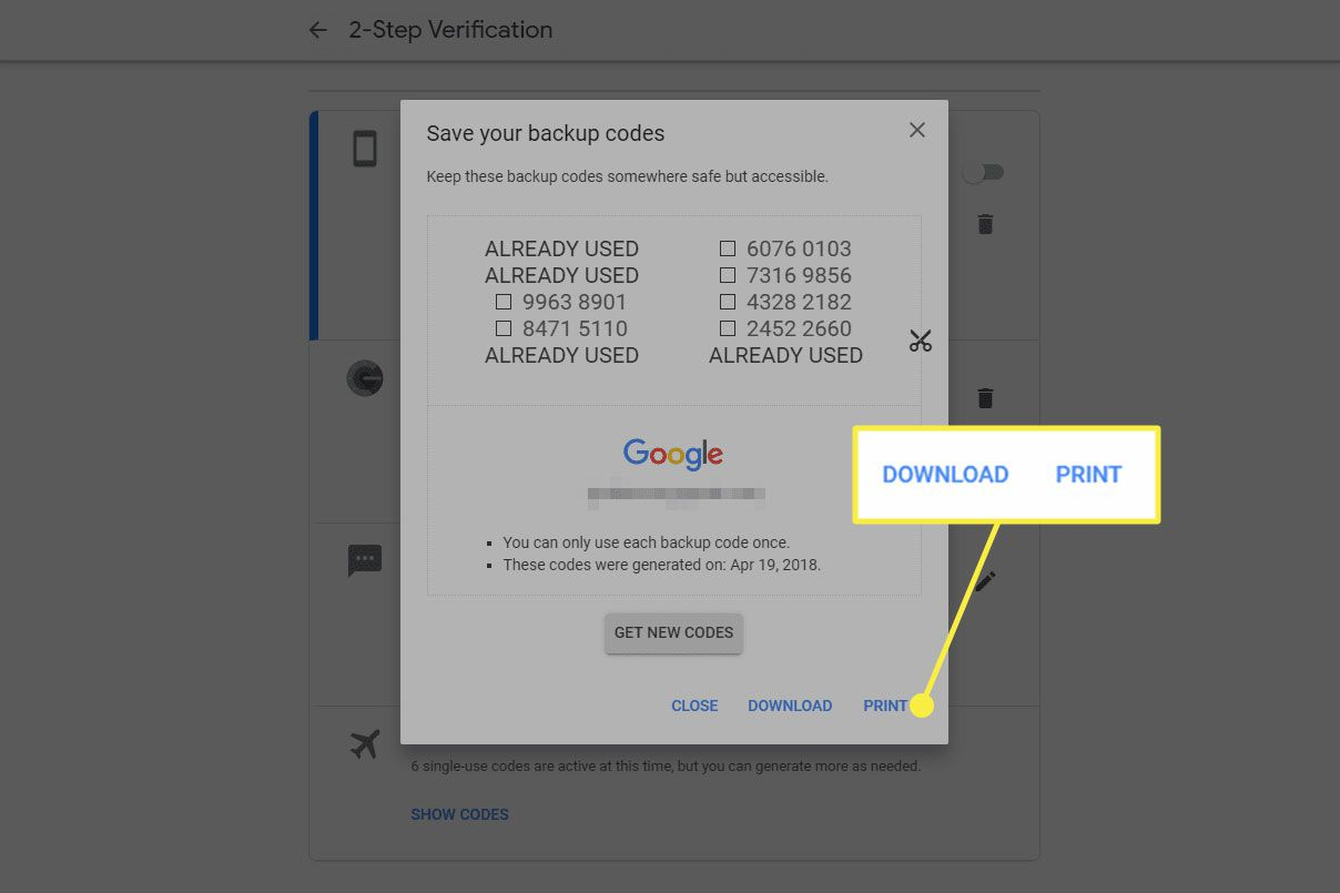 A screenshot of Google 2FA backup codes with the Download and Print options highlighted