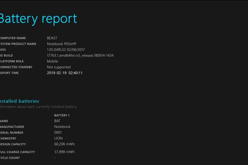 A screenshot of a Windows 10 battery report.