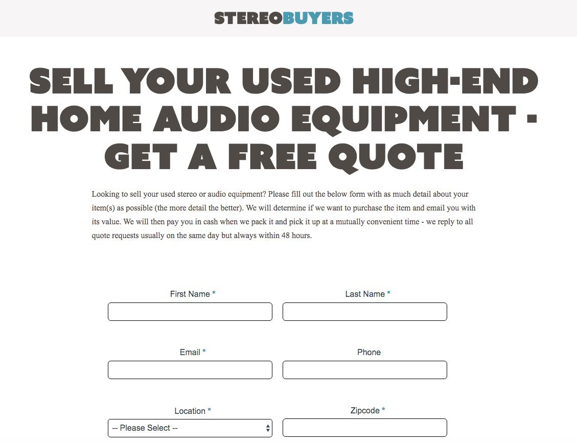 StereoBuyers website for selling used stereo equipment