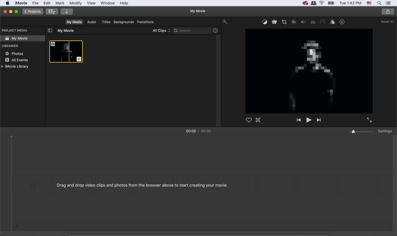 iMovie select movie