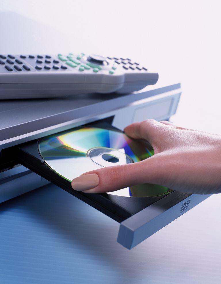 inserting DVD into player