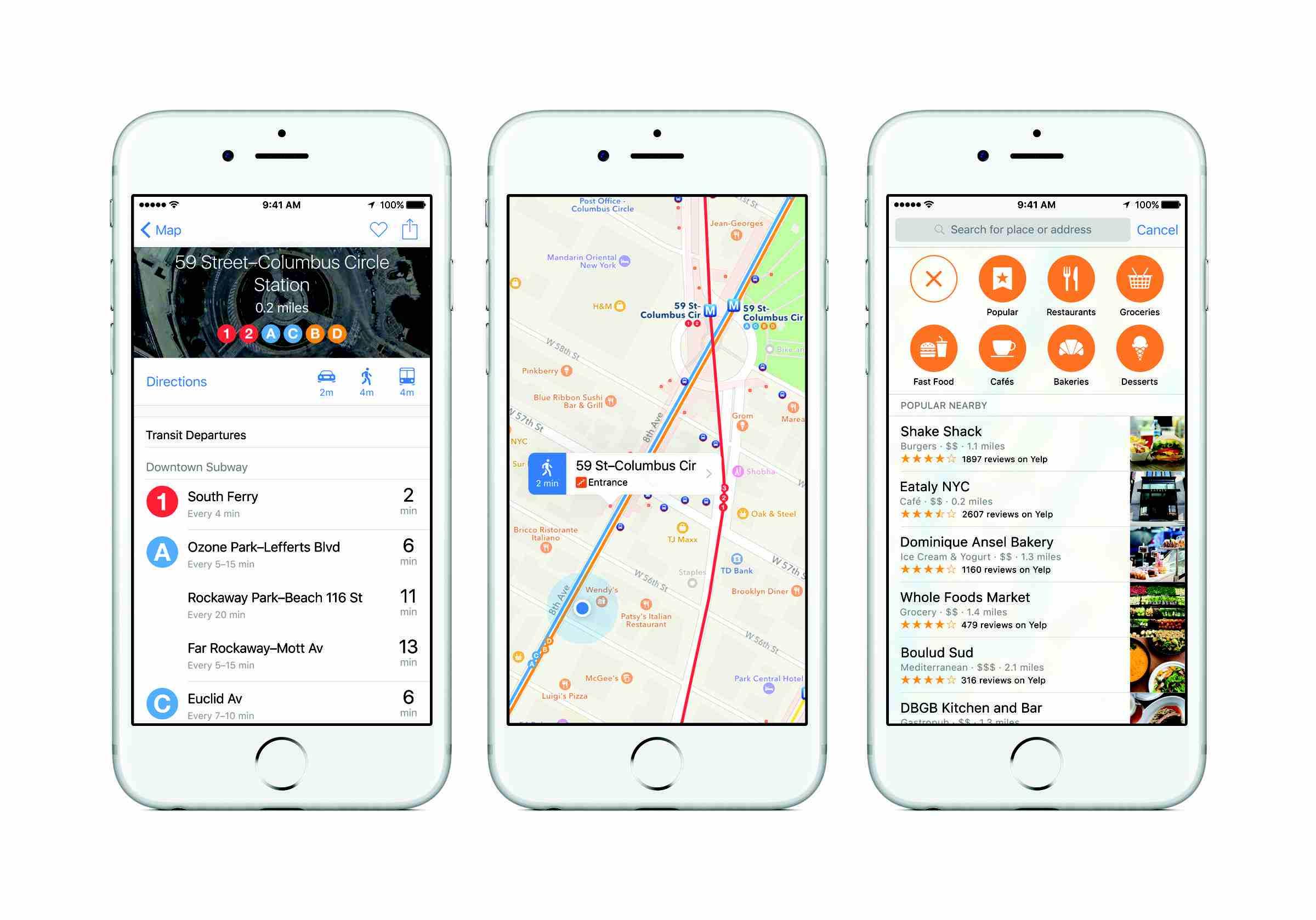 Screenshots of Apple Maps