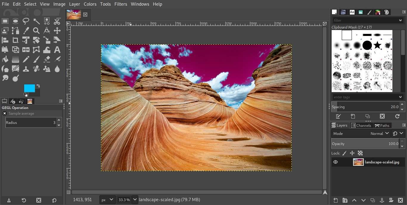 GIMP color selection edited result