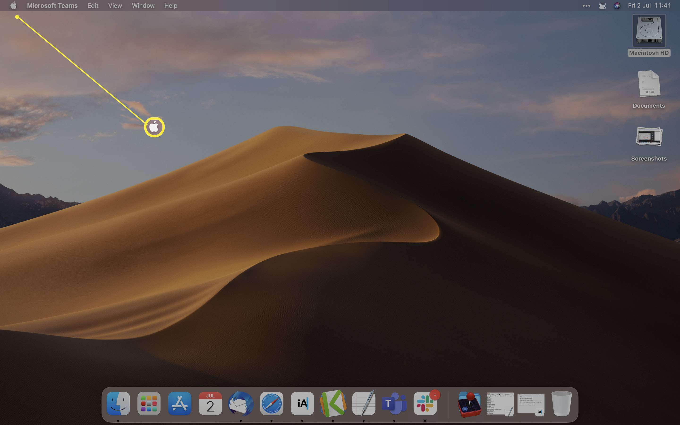 MacOS desktop with Apple logo highlighted