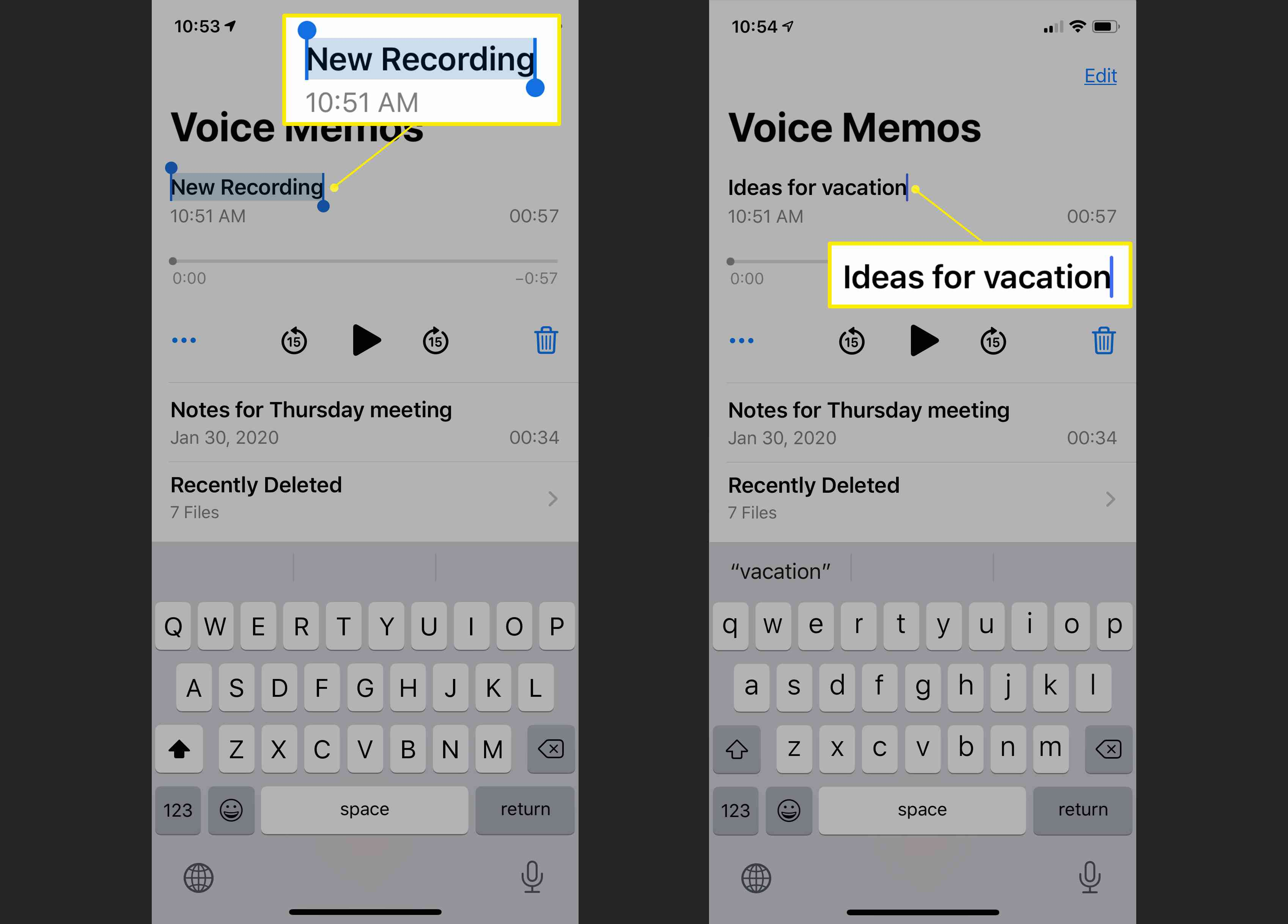 Naming a new recording in the Voice Memos app