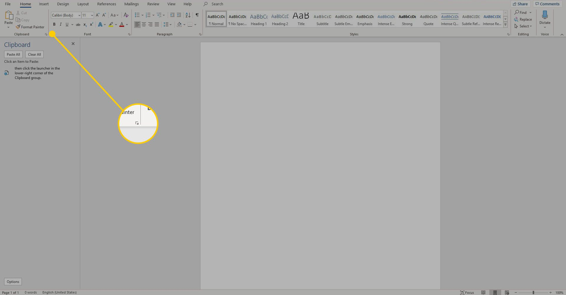 Clipboard pane button in Word