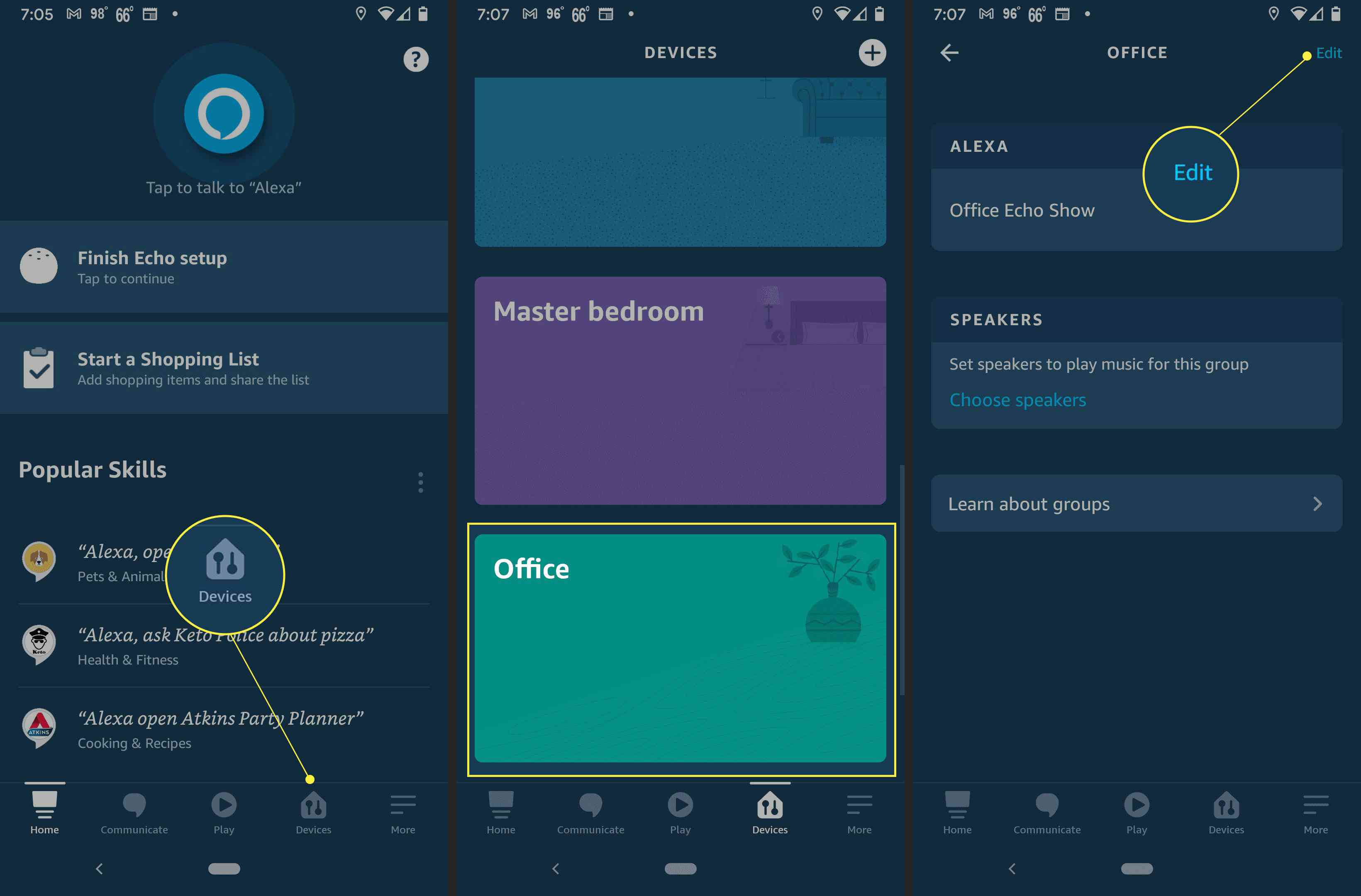 Steps to set up the temperature sensor on Amazon Echo with