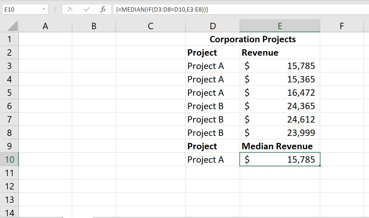 A screenshot of Excel's MEDIAN array formula showing the median revenue among several projects.