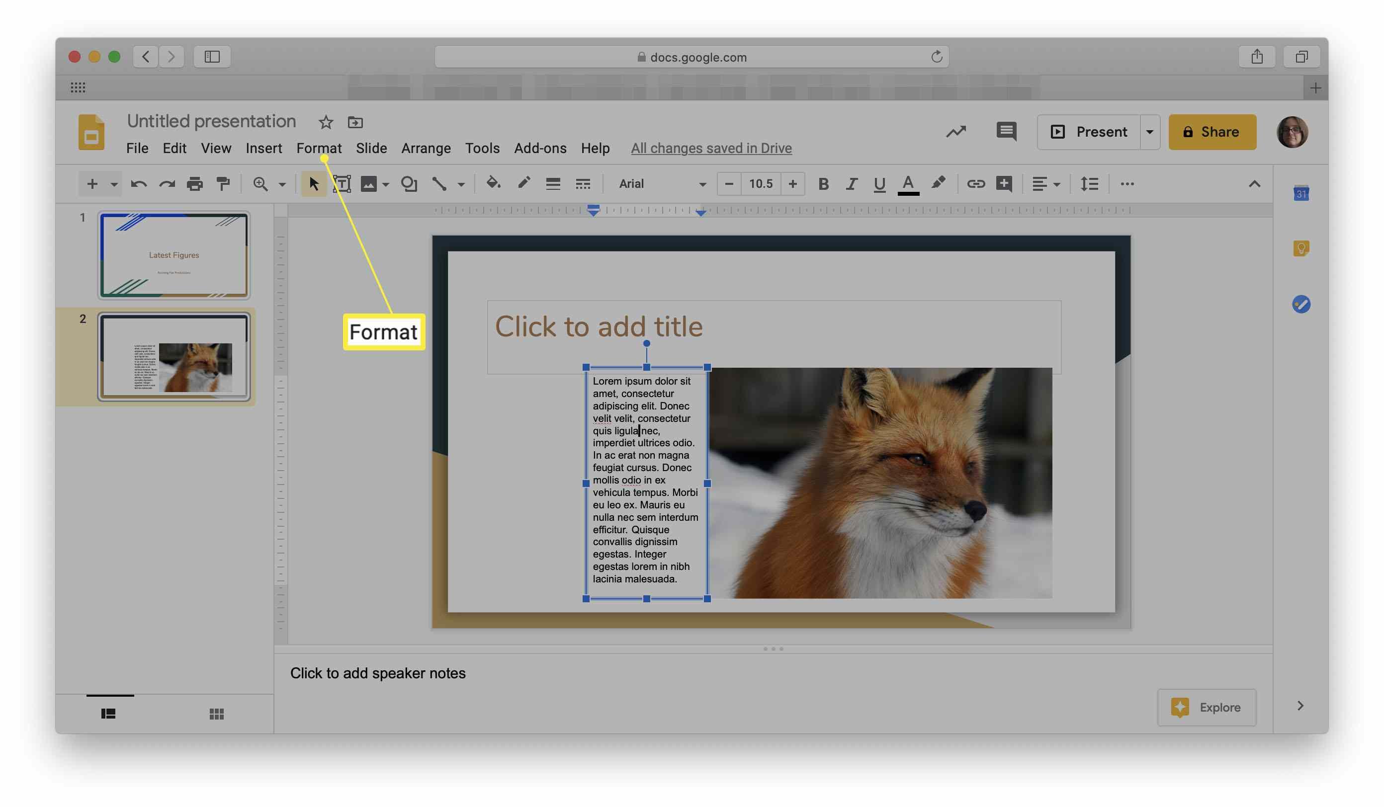 Google Slides with Format menu highlighted