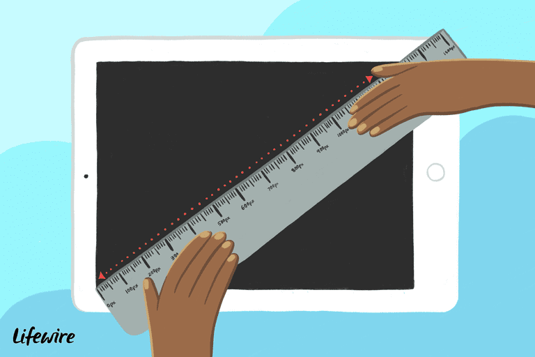 Illustration of a ruler on an iPad, measuring diagonally