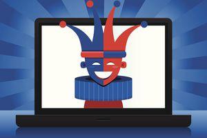 An illustration of an internet jokester showing on laptop.