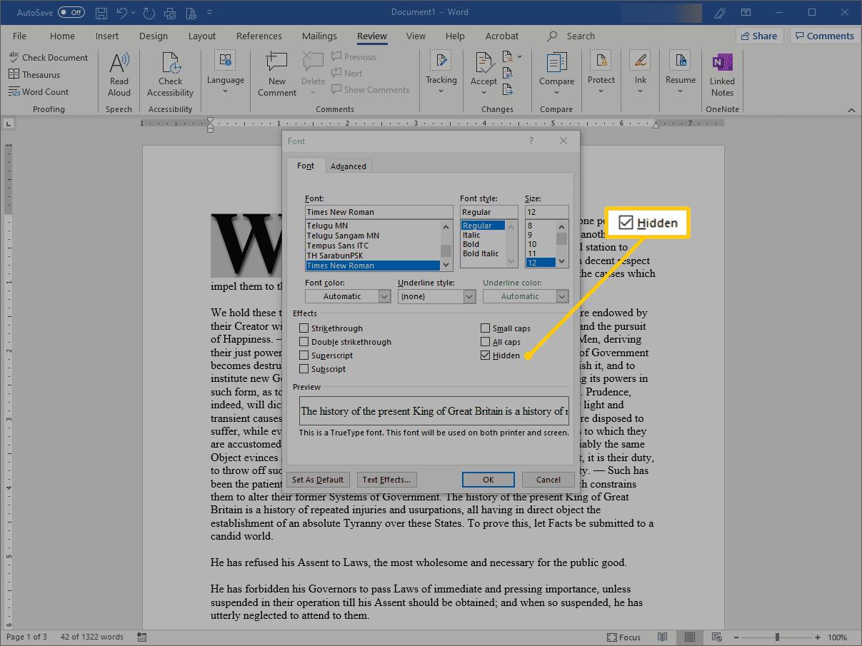 Hidden checkbox in Word