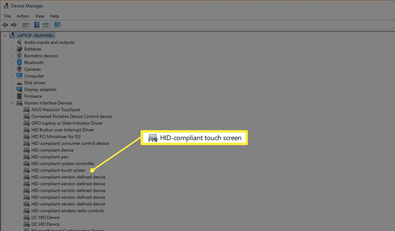HID-compliant touch screen in Device Manager