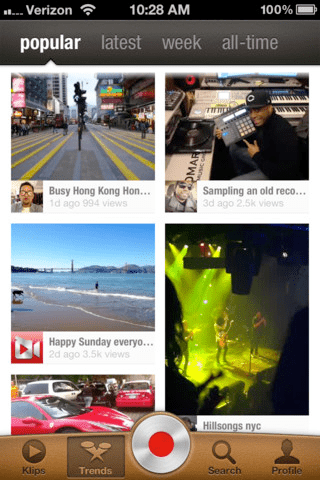 Klip mobile video app