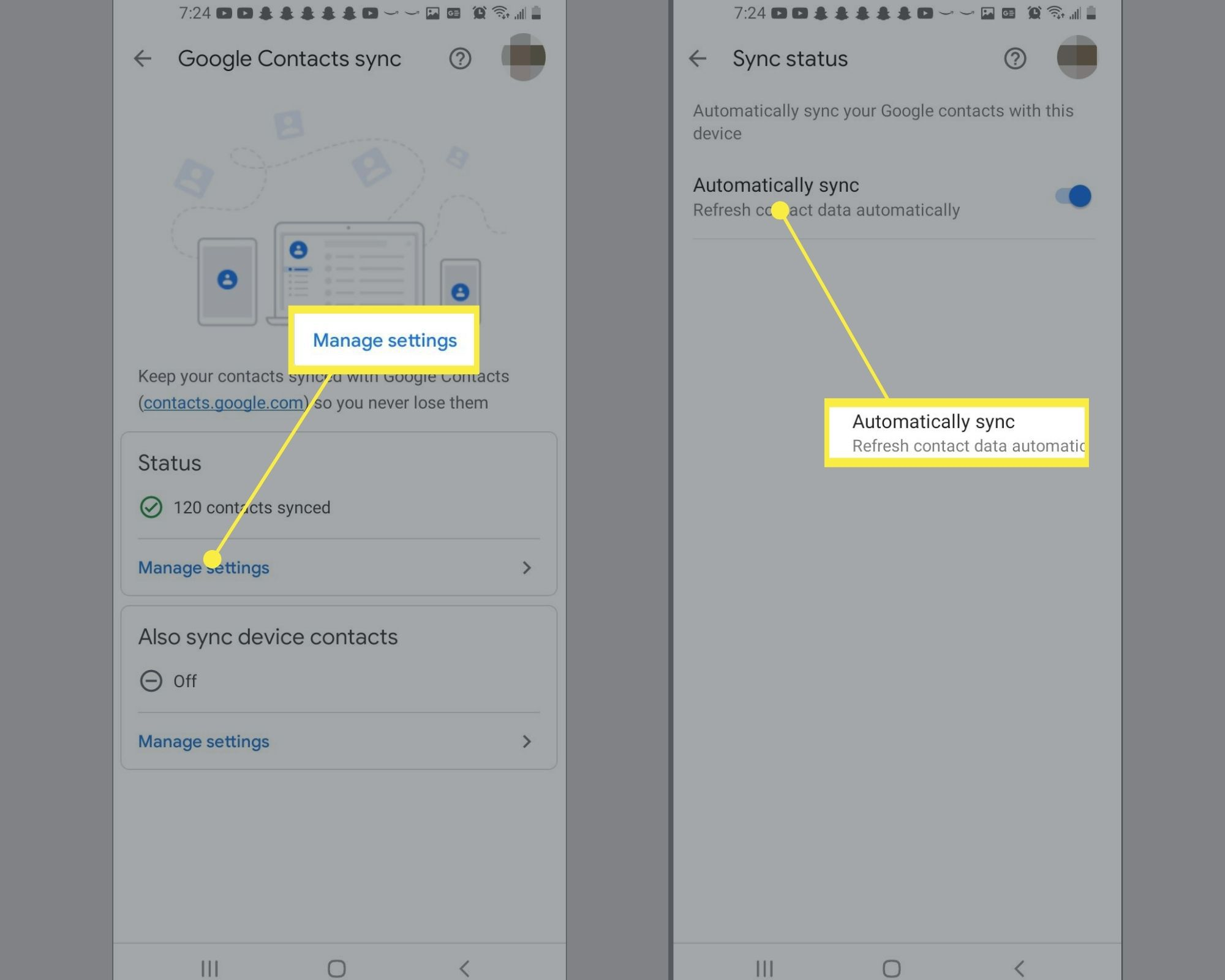 Manage Settings under Status and Automatically sync switch in the Google Home app
