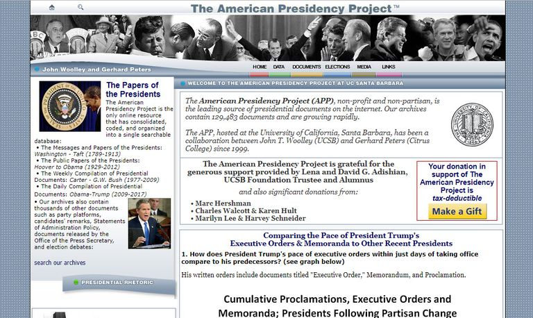 Screenshot of the American Presidency Project website.