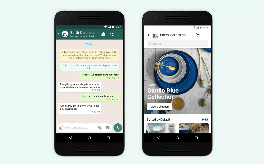 Earth Ceramics account as it appears on WhatsApp on an Android phone