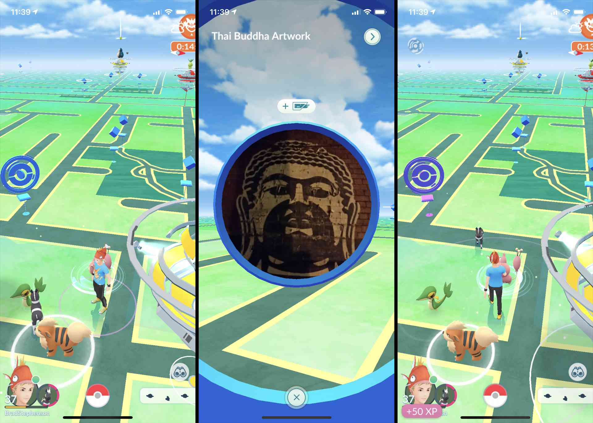 Screenshot of a Poke Stop in Melbourne, Australia in the Pokemon GO game on iPhone.